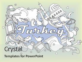 Presentation theme having turkey coloring book line art design raster illustration separate objects hand drawn doodle design elements background and a light gray colored foreground.