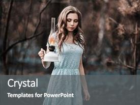 Presentation theme with turquoise dress on nature background and a gray colored foreground.