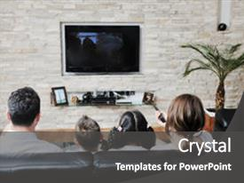 PPT theme enhanced with tv - happy young family wathching flat background and a dark gray colored foreground.