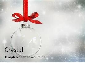 Audience pleasing presentation theme consisting of twinkling stars - transparent christmas ball hanging backdrop and a light gray colored foreground