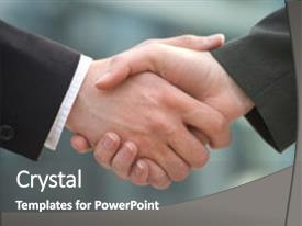 Colorful presentation theme enhanced with two businessman shake hands backdrop and a gray colored foreground.