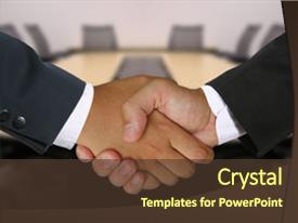 Colorful presentation design enhanced with two businessmen shaking hands backdrop and a tawny brown colored foreground.