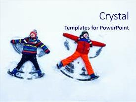 Cool new presentation design with two little siblings kid boys in colorful winter clothes making snow angel laying down on snow active outdoors leisure with children in winter happy brothers with warm hat gloves winter fashion backdrop and a sky blue colored foreground.