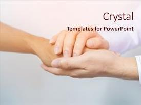 PPT layouts featuring holding hands for comfort doctor background and a sky blue colored foreground.