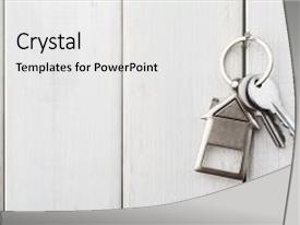 Colorful PPT theme enhanced with two steel keys with house backdrop and a white colored foreground.