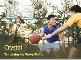 Slide deck enhanced with two street basketball players background and a tawny brown colored foreground