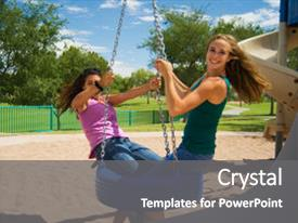 PPT theme featuring two teen girls one caucasian background and a gray colored foreground.