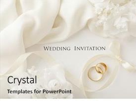 Powerpoint Template Two Linked Gold Wedding Rings On A Red Background 31161