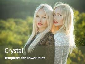Slides with two women with red lips and long blond hair dualism and dualistic nature contrasts and opposites concept beauty and fashion sisters twins posing on natural landscape background and a tawny brown colored foreground.