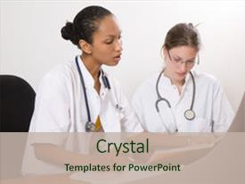 Beautiful PPT theme featuring two young medical students working backdrop and a soft green colored foreground.