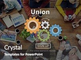 Cool new PPT theme with union unity team community united backdrop and a dark gray colored foreground