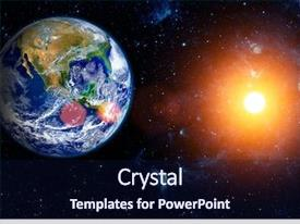 Colorful slide deck enhanced with universe - view of the earth backdrop and a navy blue colored foreground