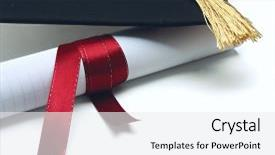 Theme featuring university diploma with a red background and a white colored foreground.