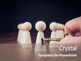 Presentation theme enhanced with unlock potential motivational concept manager hr specialist unlock leader potential represented by figurine and hand with key background and a gray colored foreground.