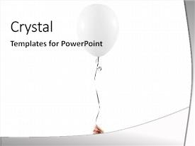 Presentation theme featuring up isolated white balloon art background and a white colored foreground.