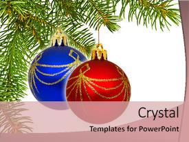 PPT theme enhanced with up view of the christmas background and a coral colored foreground.