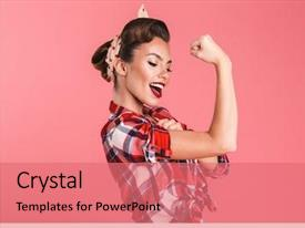 PPT theme enhanced with up woman isolated over pink background and a coral colored foreground
