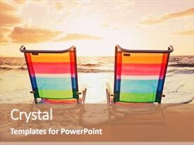 Amazing presentation design having vacation sunset concept two beach backdrop and a coral colored foreground