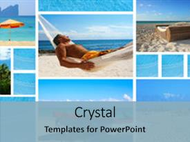 PPT layouts consisting of vacation theme collage background and a light blue colored foreground.
