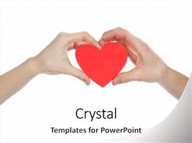 PPT theme with valentine heart in man background and a white colored foreground.