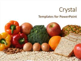 Cool new slides with variety of fresh healthy foods backdrop and a cream colored foreground.