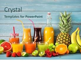 Beautiful presentation theme featuring various freshly squeezed fruits juices backdrop and a light blue colored foreground