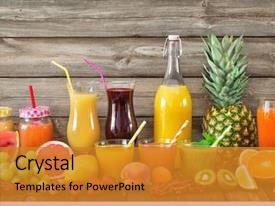 Beautiful slides featuring various freshly squeezed fruits backdrop and a gold colored foreground