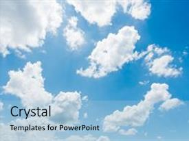Audience pleasing presentation theme consisting of vast blue sky and clouds backdrop and a light blue colored foreground.