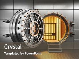 PPT layouts consisting of vault bank door in storage background and a dark gray colored foreground.