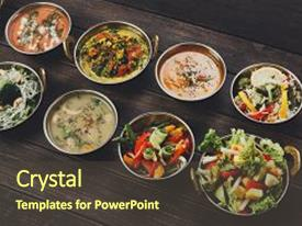 Beautiful slide deck featuring vegan or vegetarian restaurant dishes backdrop and a tawny brown colored foreground.