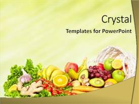 Slide deck with vegetables and fruits background and a blonde colored foreground
