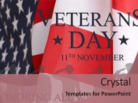 Presentation design having veterans day background text veterans background and a coral colored foreground.