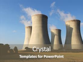 PPT theme enhanced with view of nuclear power plant towers and field background and a gray colored foreground