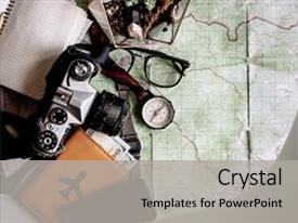 Presentation consisting of passport - view space for text vintage background and a light gray colored foreground.