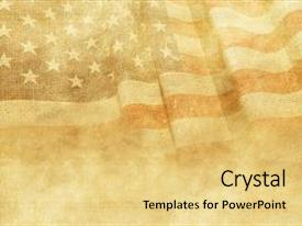 Presentation design featuring background with canvas american flag background and a yellow colored foreground