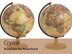 Slide set consisting of vintage antique retro terrestrial globe background and a coral colored foreground