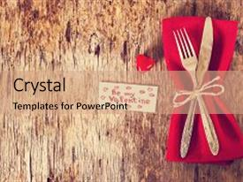Beautiful PPT theme featuring vintage - fork knife napkin heart backdrop and a coral colored foreground.