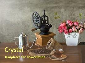 Beautiful PPT layouts featuring vintage manual coffee grinder with coffee beans and cup backdrop and a tawny brown colored foreground
