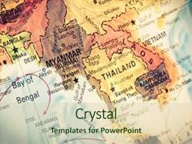 Beautiful theme featuring vintage map myanmarburma close-up backdrop and a  colored foreground.