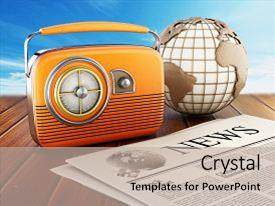 Top radio powerpoint templates backgrounds slides and ppt themes ppt theme consisting of vintage radio newspaper and globe standing on wooden planks background and a toneelgroepblik Images