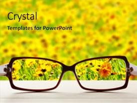 PPT theme featuring vision concept eye glasses background and a gold colored foreground