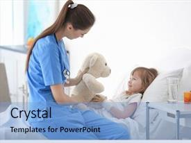 Presentation theme having visiting little girl in hospital background and a light blue colored foreground