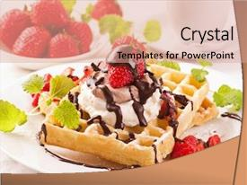 Beautiful presentation featuring ice cream cookie - waffles with strawberry dessert backdrop and a lemonade colored foreground