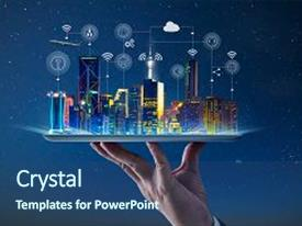 Presentation design having waiter hand holding an empty digital tablet with smart city with smart services and icons internet of things networks and augmented reality concept night scene background and a ocean colored foreground.