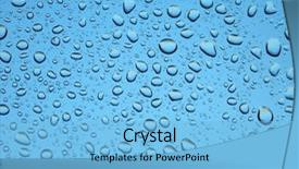 Presentation theme consisting of water droplets on glass raindrops background and a light blue colored foreground.