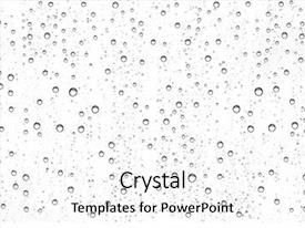 Presentation design having water drops on glass background and a white colored foreground