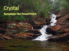 PPT theme featuring water fall in north carolina background and a tawny brown colored foreground.