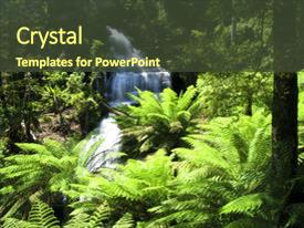 Presentation theme with water fall in rain forest background and a tawny brown colored foreground.