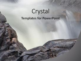 PPT theme having water flowing swiftly over rocks background and a light gray colored foreground.