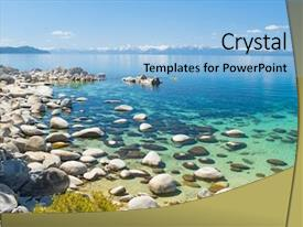 Slide deck enhanced with water of the lake tahoe background and a light blue colored foreground